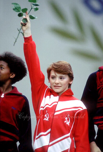 July 23, 1983; Moscow, Soviet Union; Artistic gymnast Elena Shevchenko of Soviet Union waves to fans during closing ceremony for artistic gymnastics at 1986 Goodwill Games in Moscow.  Copyright 1983 Tom Theobald