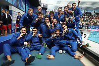 ITALY players celebrate the victory of the gold metal <br /> Napoli 14-07-2019 Piscina Scandone <br /> Napoli 2019 30th Summer Universiade 3 - 14 July 2019<br /> ITALY - USA <br /> Water Polo Men Final <br /> Photo Cesare Purini / Insidefoto