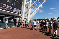 Fans queue for tickets for todays friendly match. Saturday 06 August 2016<br /> Re: Pre season friendly, Swansea v Stade Rennais at the Liberty Stadium, Swansea, UK