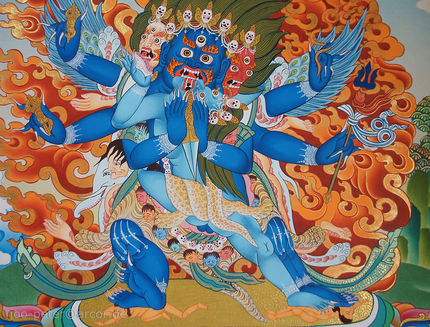 thanka-painting of  Bhairab (fierceful tantric incarnation of Shiva) with female shakti called Bajra Yogini, Himalaya, Nepal, October 2011. Tantric buddist tradition in Nepal can be found in higher Himalaya mountai areas like Mustang,  influenced by tantric tibetan buddhist traditions. Here examples of Thanka-paintings as sold by contemporary traditional artists.