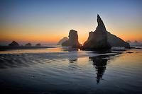 Sunset at Bandon Beach. Oregon