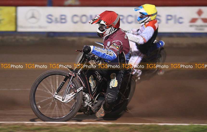 Heat 7: Adam Shields (red) and Maciej Jankowski (yellow) - Lakeside Hammers vs Swindon Robins, Elite League Speedway at the Arena Essex Raceway, Purfleet - 03/09/10 - MANDATORY CREDIT: Rob Newell/TGSPHOTO - Self billing applies where appropriate - 0845 094 6026 - contact@tgsphoto.co.uk - NO UNPAID USE.