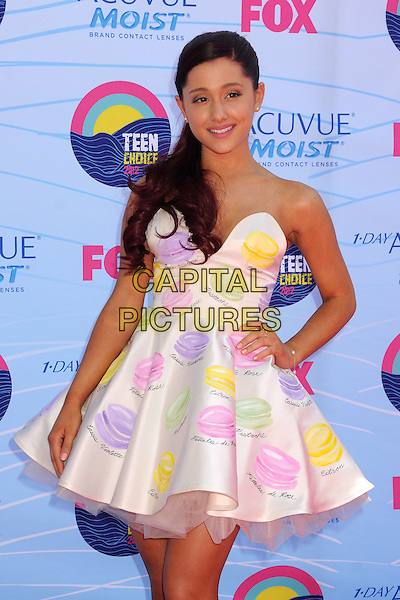 Ariana Grande.Teen Choice Awards 2012 - Arrivals held at Gibson Amphitheatre, Universal City, California, USA..July 22nd, 2012.half length white strapless dress yellow green pink purple tulle dress hand on hip .CAP/ADM/BP.©Byron Purvis/AdMedia/Capital Pictures.