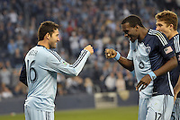 Claudio Bieler celebrates his goal with C. J Sapong..Sporting Kansas City defeated Montreal Impact 2-0 at Sporting Park, Kansas City, Kansas.