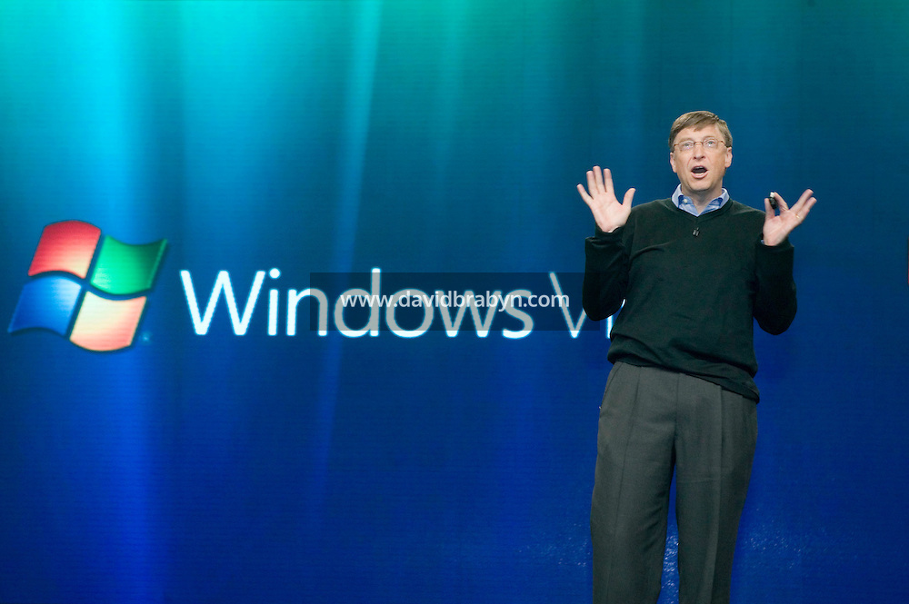 29 January 2007 - New York City, NY - Microsoft Chairman Bill Gates talks on stage during the launch day of Microsoft's new operating system Windows Vista and software suite Office 2007 in New York City, USA, 29 January 2007.