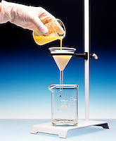 FILTERING A PRECIPITATE<br /> (1 of 3)<br /> Separates Precipitate From The Supernatant Liquid<br /> A mixture containing precipitated lead chromate &amp; water is poured through filter paper in funnel.