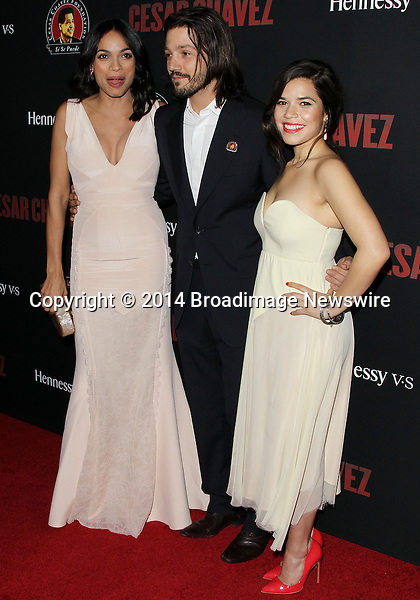 Pictured:  America Ferrera, Rosario Dawson, Diego Luna  <br /> Mandatory Credit &copy; Frederick Taylor/Broadimage<br /> Premiere Of Pantelion Films And Participant Media's &quot;Cesar Chavez&quot; - Arrivals<br /> <br /> 3/20/14, Hollywood, California, United States of America<br /> <br /> Broadimage Newswire<br /> Los Angeles 1+  (310) 301-1027<br /> New York      1+  (646) 827-9134<br /> sales@broadimage.com<br /> http://www.broadimage.com