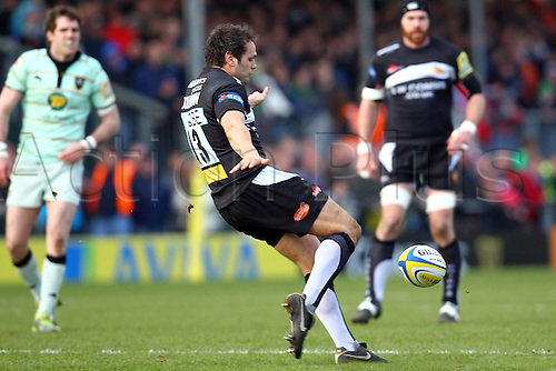 06.03.2011 Exeter Chiefs Outside Centre Phil Dolman kicks ball clear Aviva Premiership Rugby from Sandy Park Stadium. Exeter Chiefs v Northampton Saints.