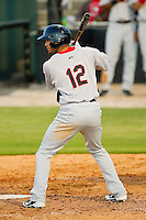 Zachary Cone #12 of the Hickory Crawdads at bat against the Kannapolis Intimidators at CMC-Northeast Stadium on April 7, 2012 in Kannapolis, North Carolina.  (Brian Westerholt/Four Seam Images)