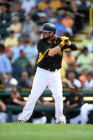 Pittsburgh Pirates outfielder Jaff Decker (14) during a Spring Training game against the New York Yankees on March 5, 2015 at McKechnie Field in Bradenton, Florida.  New York defeated Pittsburgh 2-1.  (Mike Janes/Four Seam Images)