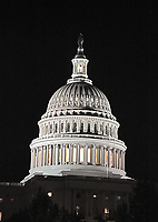 Very high resolution nighttime view of the dome of the United States Capitol with the lantern lit looking towards the West Front in Washington, DC on Tuesday, September 12, 2017.  The lantern is lit when one or both of the Houses of Congress are in session.<br /> <br /> CAP/MPI/CNP/RS<br /> &copy;RS/CNP/MPI/Capital Pictures