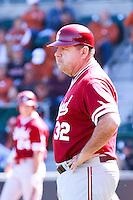 AUSTIN, TEXAS-March 6, 2011:  Associate Head Coach Dean Stotz of Stanford coaches third base during the game against the Texas Longhorns, at Disch-Falk field in Austin, Texas.  Texas defeated Stanford 4-2.