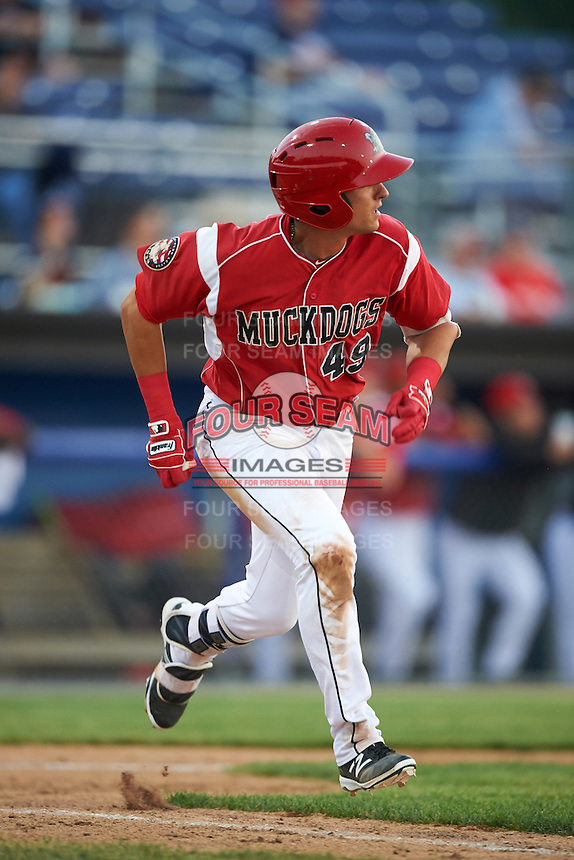 Batavia Muckdogs third baseman J.J. Gould (49) runs to first base during a game against the Brooklyn Cyclones on July 5, 2016 at Dwyer Stadium in Batavia, New York.  Brooklyn defeated Batavia 5-1.  (Mike Janes/Four Seam Images)