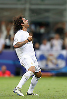 Calcio, finale di Champions League: Real Madrid vs Atletico Madrid. Stadio San Siro, Milano, 28 maggio 2016.<br /> Real Madrid's Marcelo celebrates after scoring during the penalty shootout at the end of the Champions League final match between Real Madrid and Atletico Madrid, at Milan's San Siro stadium, 28 May 2016. Real Madrid won 5-4 on penalties after the match ended 1-1.<br /> UPDATE IMAGES PRESS/Isabella Bonotto