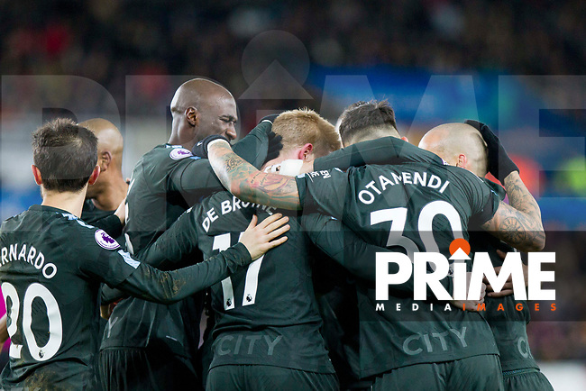 Manchester City players celebrate their side's second goal scored by Kevin De Bruyne (17) during the EPL - Premier League match between Swansea City and Manchester City at the Liberty Stadium, Swansea, Wales on 13 December 2017. Photo by Mark  Hawkins / PRiME Media Images.
