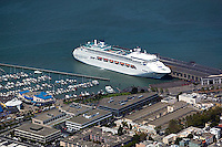 aerial photograph Carnival cruise ship docked at Pier 35 near Pier 39 and Fisherman's wharf San Francisco California