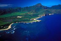 Aerial view of Mahaulepu beach and coastline, Island of Kauai