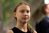 Youth climate activist Greta Thunberg joined United States Senator Ed Markey (Democrat of Massachusetts) at a press conference on climate change outside the U.S. Capitol in Washington D.C., U.S. on September 17, 2019.<br /> <br /> Credit: Stefani Reynolds / CNP
