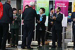 (L to R) Craig Reedie, Saori Yoshida, Tomiaki Fukuda, MARCH 6, 2013 : London Olympics Gold medalist Saori Yoshida shake hands with International Olympic Committee Vice President Craig Reedie at Tokyo Bigsight, Tokyo, Japan. The IOC evaluation commission, led by Reedie, began a four-day inspection of Tokyo's bid to host the 2020 Olympics. (Photo by Yusuke NakanishiAFLO SPORT)