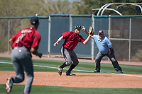 Arizona Diamondbacks first baseman Austin Byler (47) fields a ground ball during a Spring Training game against Meiji University at Salt River Fields at Talking Stick on March 12, 2018 in Scottsdale, Arizona. (Zachary Lucy/Four Seam Images)