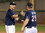 Reno Aces' Manager Phil Nevin and Mike Jacobs celebrate the Pacific Conference Championship after defeating the Las Vegas 51s, 7-3, in Reno, Nev., on Saturday, Sept. 6, 2014.<br /> Photo by Cathleen Allison