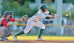 18 August 2012: Vermont Lake Monsters infielder Christopher Bostick lays down a sacrifice bunt against the Brooklyn Cyclones at Centennial Field in Burlington, Vermont. The Lake Monsters defeated the Cyclones 4-1 in NY Penn League action. Mandatory Credit: Ed Wolfstein Photo