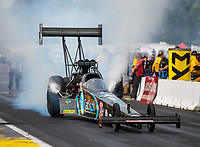 Aug 18, 2018; Brainerd, MN, USA; NHRA top fuel driver Scott Palmer during qualifying for the Lucas Oil Nationals at Brainerd International Raceway. Mandatory Credit: Mark J. Rebilas-USA TODAY Sports