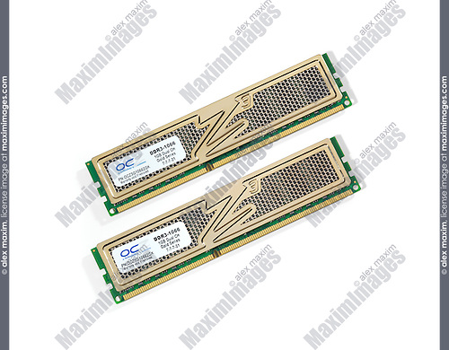 Two desktop computer OCZ DDR-3 memory modules isolated on white background