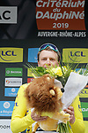 Edvald Boasson Hagen (NOR) Team Dimension Data wins Stage 1 and wears the first leaders Yellow Jersey of the Criterium du Dauphine 2019, running 142km from Aurillac to Jussac, France. 9th June 2019<br /> Picture: Colin Flockton | Cyclefile<br /> All photos usage must carry mandatory copyright credit (© Cyclefile | Colin Flockton)