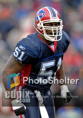 24 December 2006: Buffalo Bills linebacker Takeo Spikes (51) gets the crowd pumped up during a game against the Tennessee Titans at Ralph Wilson Stadium in Orchard Park, New York. The Titans edged out the Bills 30-29.&amp;#xA; &amp;#xA;Mandatory Photo Credit: Ed Wolfstein Photo<br />