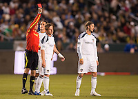LA Galaxy midfielder David Beckham (23) shows his disbelief as team mate Chris Birchall (8) is shown red by referee Paul Ward. The LA Galaxy defeated the Philadelphia Union 1-0 at Home Depot Center stadium in Carson, California on  April  2, 2011....