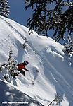 Alta, Utah.  Powder skiing, blue sky.
