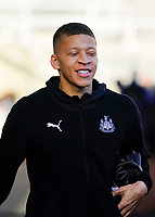 30th November 2019; St James Park, Newcastle, Tyne and Wear, England; English Premier League Football, Newcastle United versus Manchester City; Dwight Gayle of Newcastle United arrives at St James Park - Strictly Editorial Use Only. No use with unauthorized audio, video, data, fixture lists, club/league logos or 'live' services. Online in-match use limited to 120 images, no video emulation. No use in betting, games or single club/league/player publications