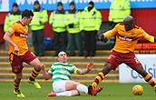 18th March 2018, Fir Park, Motherwell, Scotland; Scottish Premiership football, Motherwell versus Celtic;  Cedric Kipre tackles Celtic's Scott Brown which led to the red card after a scuffle