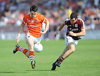 20th July 2013; Caolan Rafferty, Armagh, in action against, Johnny Duane, Galway. All Ireland Football Senior Championship Round 3, Galway v Armagh, Pearse Stadium, Galway
