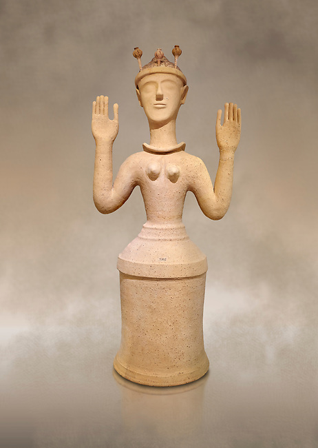"""Minoan Postpalatial terracotta  """"Poppy goddess: statue with raised arms and poppy seed crown,  Karphi Sanctuary 1300-1200 BC, Heraklion Archaeological Museum. <br /> <br /> The """"Poppy Goddess"""" statuye is crowned with opium poppy seed heads. As opium is a hallucinogen that also sedates and has healing properties, experts assume this was the goddess of pain relief and healing/ During this period both Minoan and Mycenaean graves were found in Karphi snctuary so these cult gods are attributable to both cultures"""