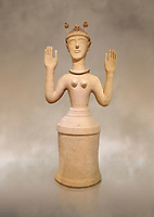 "Minoan Postpalatial terracotta  ""Poppy goddess: statue with raised arms and poppy seed crown,  Karphi Sanctuary 1300-1200 BC, Heraklion Archaeological Museum. <br /> <br /> The ""Poppy Goddess"" statuye is crowned with opium poppy seed heads. As opium is a hallucinogen that also sedates and has healing properties, experts assume this was the goddess of pain relief and healing/ During this period both Minoan and Mycenaean graves were found in Karphi snctuary so these cult gods are attributable to both cultures"