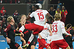 30.11.2019, RheinEnergieStadion, Koeln, GER, 1. FBL, 1.FC Koeln vs. FC Augsburg,<br />  <br /> DFL regulations prohibit any use of photographs as image sequences and/or quasi-video<br /> <br /> im Bild / picture shows: <br /> Tormöglichkeit durch Jhon Córdoba (FC Koeln #15),   per Kopfball <br /> <br /> Foto © nordphoto / Meuter