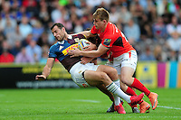 Tim Visser of Harlequins is tackled. Aviva Premiership match, between Harlequins and Saracens on September 24, 2016 at the Twickenham Stoop in London, England. Photo by: Patrick Khachfe / JMP