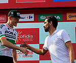 Alberto Contador (ESP) congratulates Sam Bennett (IRL) Bora-Hansgrohe after he wins Stage 3 of La Vuelta 2019 running 188km from Ibi. Ciudad del Juguete to Alicante, Spain. 26th August 2019.<br /> Picture: Eoin Clarke | Cyclefile<br /> <br /> All photos usage must carry mandatory copyright credit (© Cyclefile | Eoin Clarke)