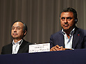 May 10, 2016, Tokyo, Japan - Japan's telecommunication giant Softbank president Masayoshi Son (L) and vice president Nikesh Arora announce the company's financial result ended March 31 in Tokyo on Tuesday, May 10, 2016. Softbank posted operating profit of 999.5 billion yen from 918.7 billion yen of previous year.  (Photo by Yoshio Tsunoda/AFLO) LWX -ytd-