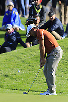 Francesco Molinari (Team Europe) chips onto the 9th green during Saturday's Foursomes Matches at the 2018 Ryder Cup 2018, Le Golf National, Ile-de-France, France. 29/09/2018.<br /> Picture Eoin Clarke / Golffile.ie<br /> <br /> All photo usage must carry mandatory copyright credit (&copy; Golffile | Eoin Clarke)