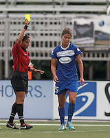 Yellow Card: Boston Breakers midfielder Jo Dragotta (25). In a National Women's Soccer League Elite (NWSL) match, Sky Blue FC (white) defeated the Boston Breakers (blue), 3-2, at Dilboy Stadium on June 16, 2013.