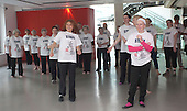 """18/05/2012. London, England. Sadler's Wells staff and the dance group """"Company of Elders"""" joined over half a million performers in 53 countries for the Big Dance World Record Attempt - for the Guinness Book of Records. Photo credit: Bettina Strenske"""