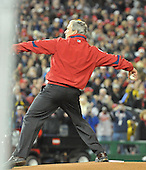 Washington, D.C. - March 29, 2008 -- United States President George W. Buswh throws out the first pitch on opening night as the Atlanta Braves visit the Washington Nationals at Nationals Park in Washington, D.C. on Sunday, March 30, 2008..Credit: Ron Sachs / CNP.(RESTRICTION: NO New York or New Jersey Newspapers or newspapers within a 75 mile radius of New York City)