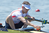 Brandenburg. GERMANY.<br /> GBR LM2-, Sam SCRIMGEOUR, leans forward to set the stroke coach, at the start of their heat. 2016 European Rowing Championships at the Regattastrecke Beetzsee<br /> <br /> Friday  06/05/2016<br /> <br /> [Mandatory Credit; Peter SPURRIER/Intersport-images]