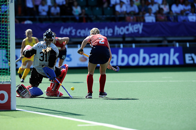 The Hague, Netherlands, June 12: Jackie Kintzer #31 of USA makes a save during the field hockey semi-final match (Women) between USA and Australia on June 12, 2014 during the World Cup 2014 at Kyocera Stadium in The Hague, Netherlands. Final score after full time 2-2 (0-1). Score after shoot-out 1-3. (Photo by Dirk Markgraf / www.265-images.com) *** Local caption *** Jackie Kintzer #31 of USA, Stefanie Fee #2 of USA