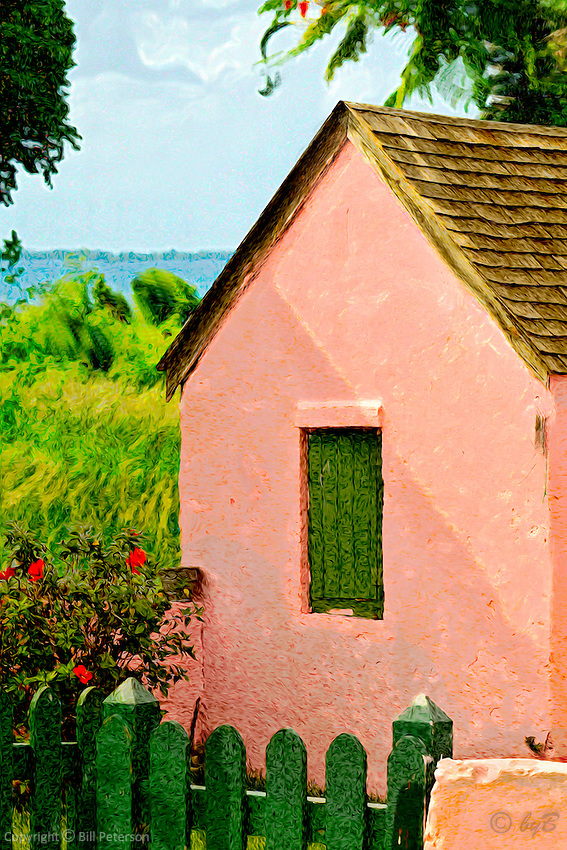 Standing in the two o'clock shade looking across remembered glimpses to the waters edge. From an Island walk in summer heat.  Comfortable in matte finish, Abaco Pink in an archival Fuji Matte Luster, Entrada Rag  or canvas/canvas wrap cheers a wall with warmth.   <br />
