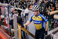 Mark Cavendish  (GBR) getting onto the track<br /> <br /> zesdaagse Gent 2019 - 2019 Ghent 6 (BEL)<br /> day 2<br /> <br /> ©kramon