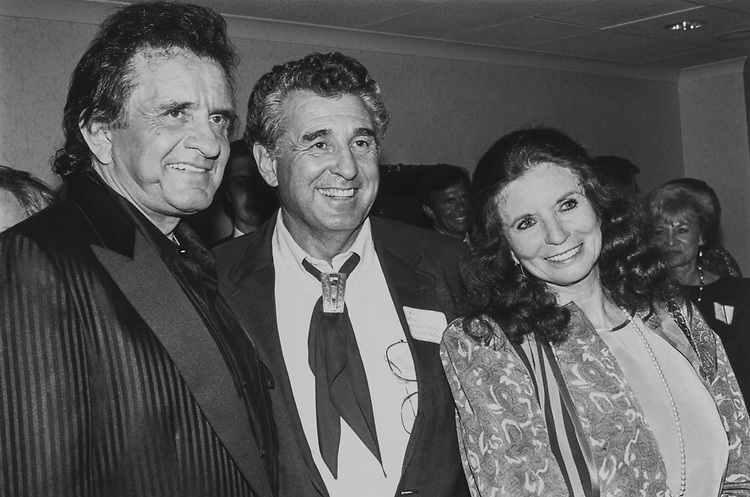 At a Bob Clement fundraiser, Johnny Cash and wife June Carter Cash entertained 300 people with a great show. Here is Johnny Cash with Sen. Ben Nighthorse Campbell, D-Colo., on Sep. 16, 1991. (Photo by Maureen Keating/CQ Roll Call via Getty Images)